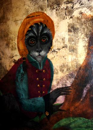 Detail of Monkey in the Garden, elevator series SOLD