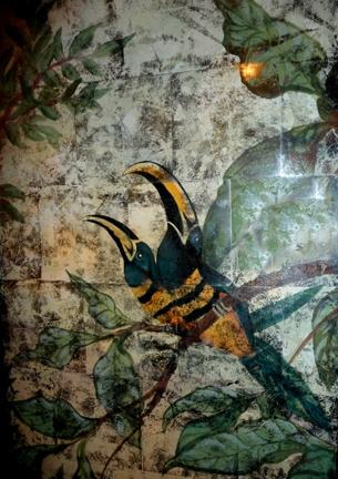 Verre Eglomise elevator panel detail SOLD