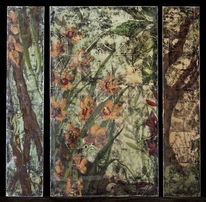 Frog & Flower, part of elevator panels, SOLD