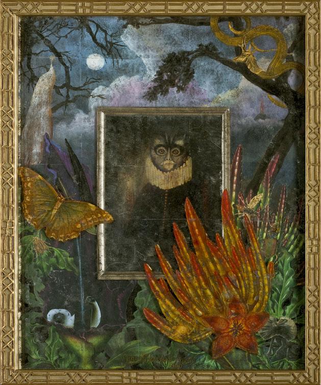 Don Mono & the White Peacock, verre Eglomise, mixed media SOLD