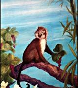 Monkey Detail Tropical Triptych