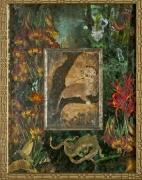Bird Headed Lion, Verre Eglomise, mixed media SOLD