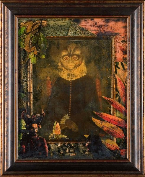 Example of Èglomisè, collage & original art